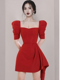 Modern OL 2 Colors Square Collar Puff Sleeve A-line Dress