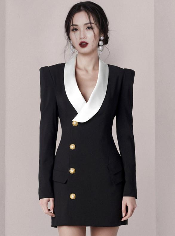 Modern OL Color Block Single-breasted Long Sleeve Dress