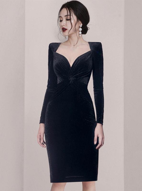 Elegant Fashion Twisted Waist V-neck Slim Velvet Dress