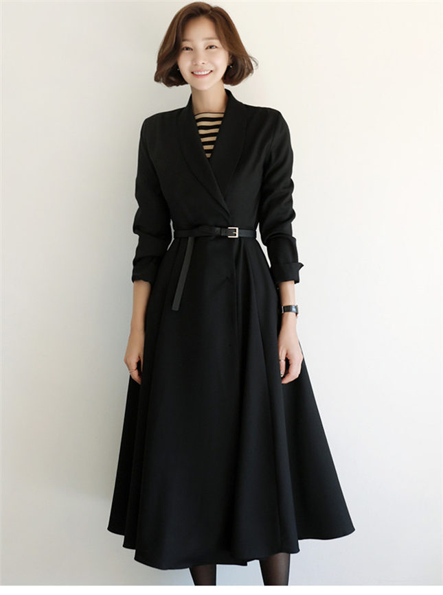 Boutique Fashion Tailored Collar Coat Long Dress