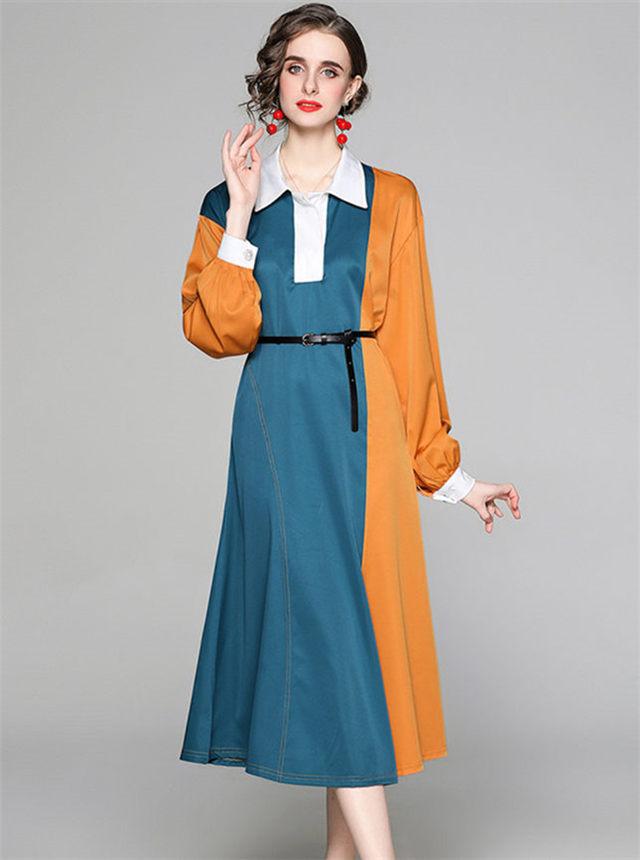 Europe Spring Color Block Shirt Collar Loosen Dress