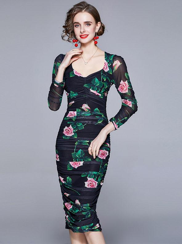 Spring Hot Selling Gauze Flowers Pleated Skinny Dress