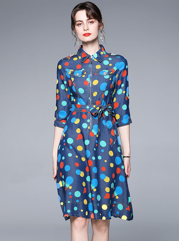 Europe Spring Zipper Collar Dots Denim Shirt Dress
