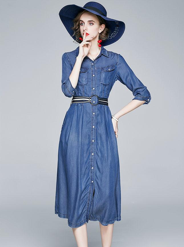 Spring Fashion Back Stripes Single-breasted Denim Dress