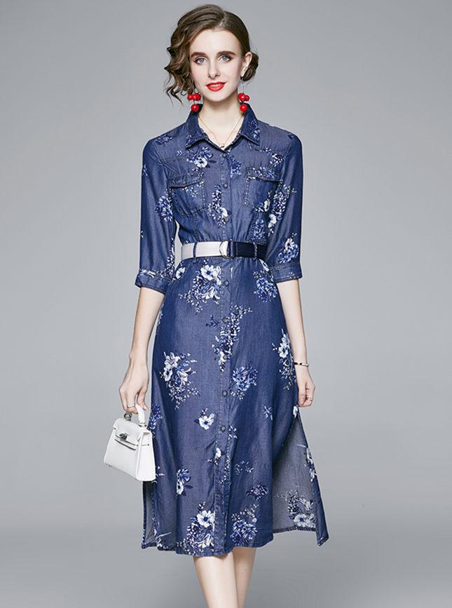 Europe Stylish Shirt Collar Flowers Denim A-line Dress