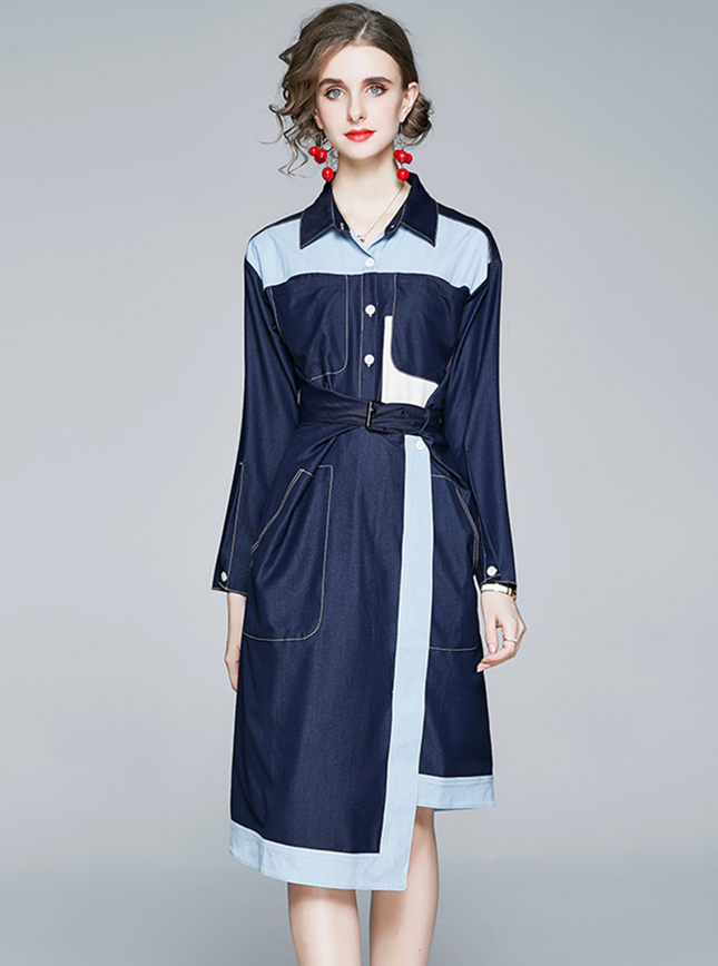 Retro Fashion Tie Waist Color Block Loosen Denim Dress