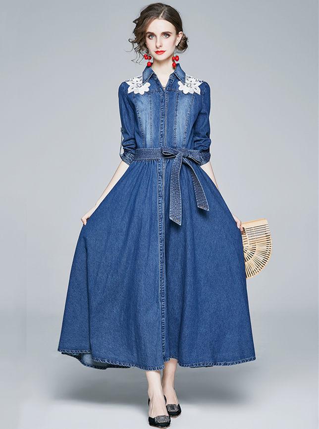 Boutique Fashion Flowers Shoulder Tie Waist Denim Long Dress