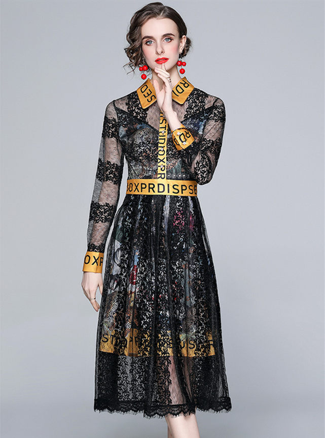 Brand Fashion Letters Shirt Collar Lined Lace Long Dress