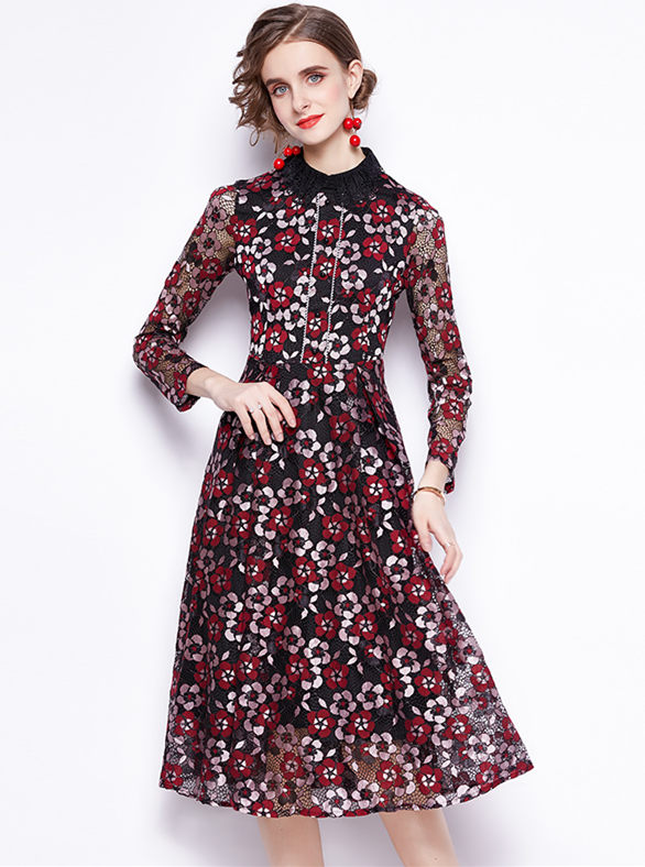 Spring New Doll Collar Lace Flowers A-line Dress