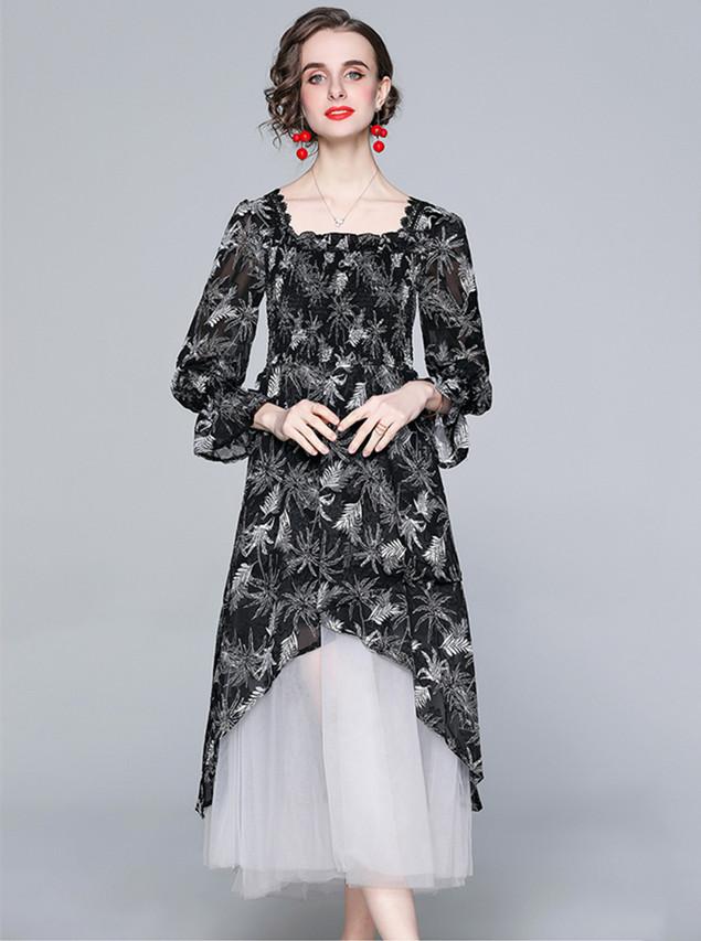 Europe Stylish Flowers Splicing Gauze Fluffy Long Dress