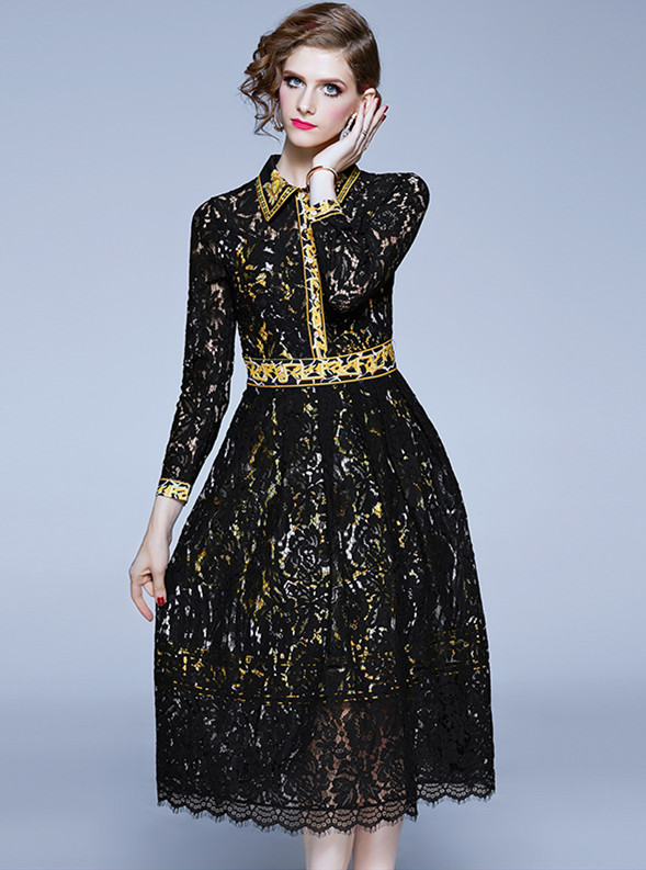 Spring Fashion Shirt Collar Lace Flowers A-line Dress