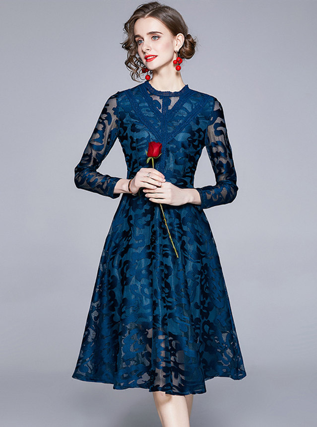 Retro Wholesale High Waist Flowers Lace Long Sleeve Dress