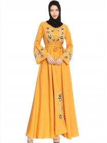 Muslim Fashion Tie Waist Embroidery Flower Long Dress