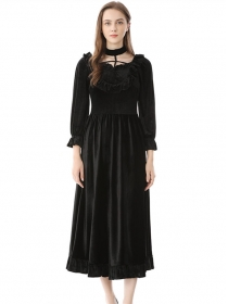Grace Europe High Waist Flouncing Collar Velvet Dress