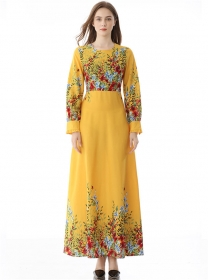 Wholesale Europe High Waist Flowers Prints Maxi Dress