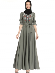 Vogue Lady Tie High Waist Embroidery Long Dress
