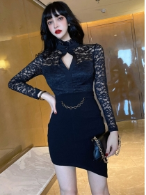 Spring New Hollow Out Lace Bust Splicing Slim Dress