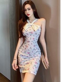 Lovely Wholesale Bowknot Straps Lace Flowers Slim Dress