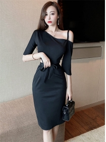 Modern Sexy 2 Colors Tie Waist Hollow Out Slim Dress