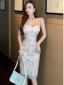 Charming Sexy Gauze Flowers Straps Bodycon Dress