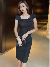 Simple Fashion Square Collar Short Sleeve Slim Dress