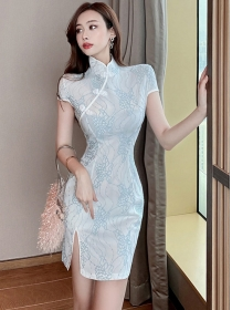 Korea Fashion 2 Colors Lace Flowers Cheongsam Dress