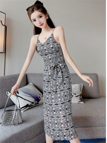 Retro Wholesale Tie Waist Flowers Straps Long Dress