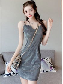 Summer Fashion V-neck Straps Shining Dress
