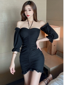 Sexy Fashion Boat Neck Pleated Puff Sleeve Short Dress