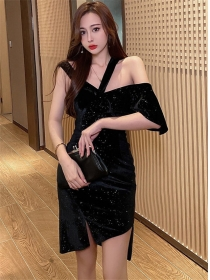 Summer Wholesale V-neck Off Shoulder Shining Velvet Dress