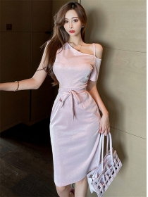 Pretty Fashion Off Shoulder Tie Waist Bodycon Dress