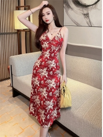 Pretty Lady V-neck Flowers Straps Slim Dress