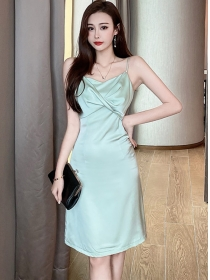 Fashion Summer 2 Colors Pleated Collar Straps Dress