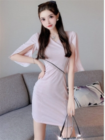 Hot Sell 2 Colors Tassels Waist Flare Sleeve Slim Dress