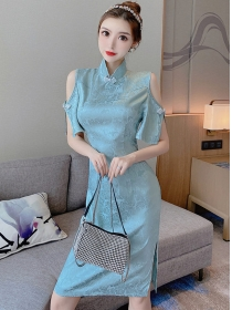 Retro Grace Off Shoulder Flowers Slim Cheongsam Dress
