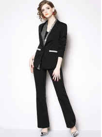 Boutique Fashion Sequins Collar Slim Two Pieces Long Suits