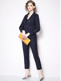 Modern Lady Tailored Collar Stripes Slim Long Suits