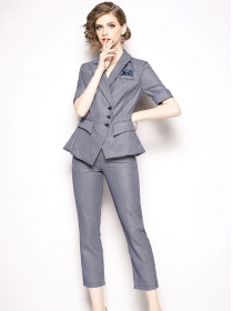 Europe Fashion Tailored Collar Houndstooth Slim Suits