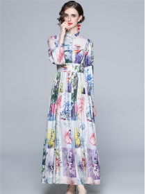 Charming Europe High Waist Plaids Flowers Maxi Dress