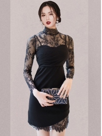 Grace Fashion Lace Blouse with Pleated Straps Slim Dress