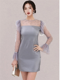 Elegant OL Beads Gauze Flare Sleeve Bodycon Dress