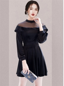Retro Spring Gauze Shoulder Splice Flouncing A-line Dress