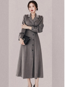 Brand 2 Colors Tailored Collar Single-breasted Coat Dress