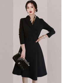 Quality OL Fashion Tailored Collar Fitted Waist A-line Dress