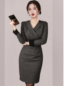 Quality OL Tailored V-neck Slim Long Sleeve Dress