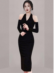 Wholesale Spring Halter Off Shoulder Backless Slim Dress