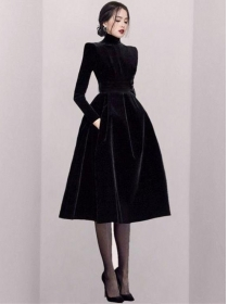 Modern Lady Fitted Waist Stand Collar Flouncing A-line Dress