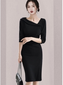 Modern Lady 2 Colors Sloping V-neck Pleated Slim Dress