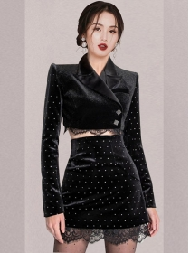 Korea Spring Tailored Collar Dots Velvet Slim Dress Set
