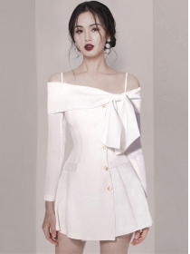 Spring Fashion Bowknot Boat Neck Single-breasted Dress